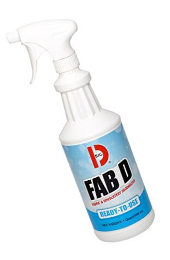 Big D 222 Fab D Fabric & Upholstery Deodorizer, Ready-To-Use, 1 Quart (Pack of 12) - Ideal for use on drapes, furniture, rugs and carpets, automobile interiors - Non-aerosol