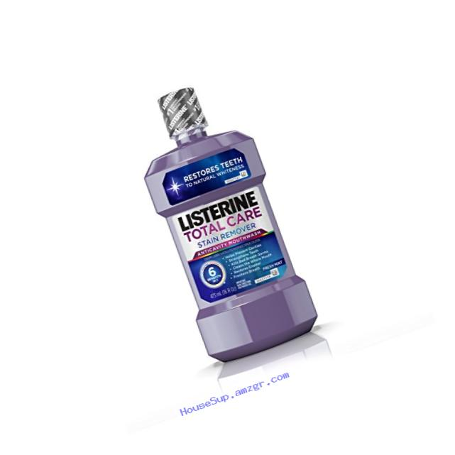 Listerine Total Care Stain Remover  Anticavity Mouthwash, Fresh Mint, 16 Fl. Oz