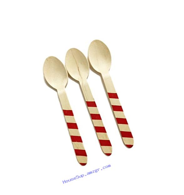Perfect Stix Striped Spoons 158 36 - Red Printed Wooden Spoons with Red Stripes Pattern, 6