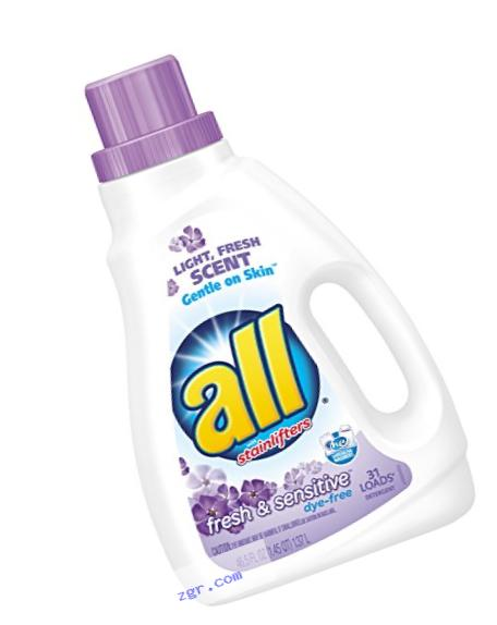 all Liquid Laundry Detergent, Fresh & Sensitive, 46.5 Fluid Ounces, 31 Loads