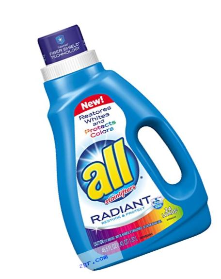 all Liquid Laundry Detergent, Radiant, Restores Whites & Protects Colors, 46.5 Fluid Ounces, 24 Loads