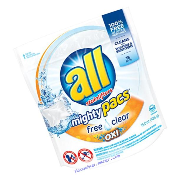 all Mighty Pacs Laundry Detergent with OXI Stain Removers and Whiteners, Free Clear, Pouch, 18 Count