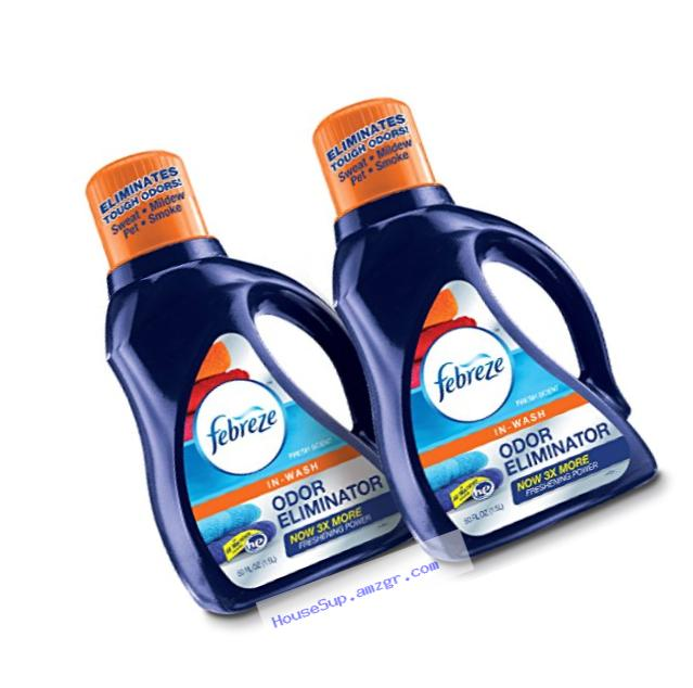 Febreze In-Wash Laundry Odor Eliminator Detergent, Fresh Scent, 50 Fluid Ounce (Pack of 2)
